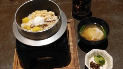 カニ釜飯と味噌汁