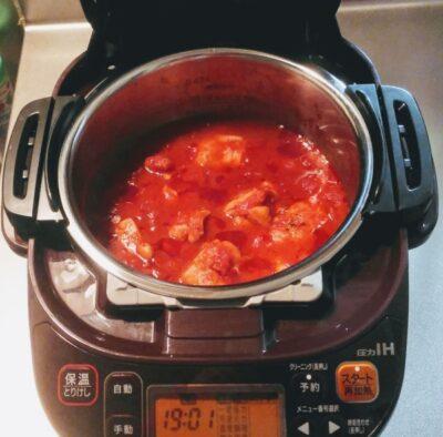 圧力鍋でチキントマト煮込み