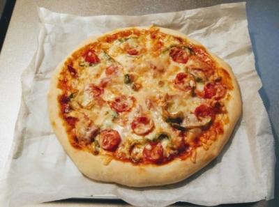 トースターで手作りピザの完成品