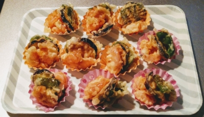 海老と野菜の甘辛天ぷら