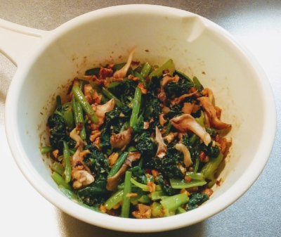 小松菜と舞茸のくるみ和え