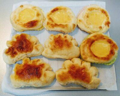 トースターで手作りカスタードクリームパンを作った写真です