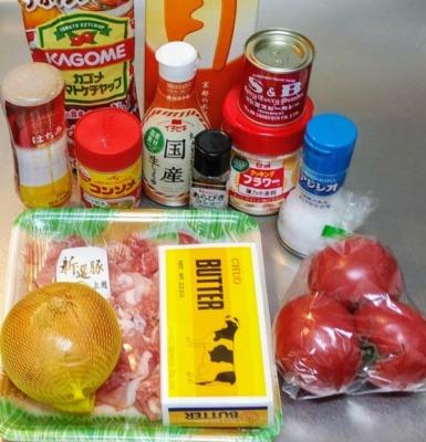 レンジでポークとトマトのカレーの材料