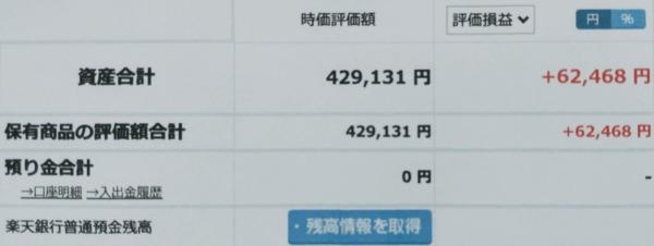 2021-07-11楽天証券【つみたてNISA】ファンド合計時価評価額