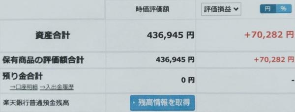2021-08-01楽天証券【つみたてNISA】ファンド合計時価評価額