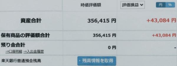 2021-08-15楽天証券【つみたてNISA】ファンド合計時価評価額