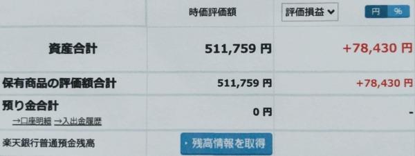 2021-09-12楽天証券【つみたてNISA】ファンド合計時価評価額